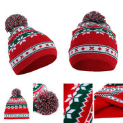 Women Winter Christmas Knitted Santa Claus Hat Soft Snowflake Beanie Hat Halloween Gift
