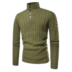 Mens Casual Breathable Buttons High Collar Solid Color Long Sleeve Sweater