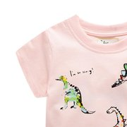 Dinosaur Print Girls Girls Short Sleeve T-Shirt For 1-9Years