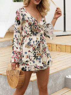 Floral Printed V-neck Bohemian Long Sleeve Jumpsuits