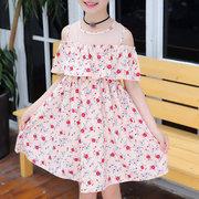 Robe en mousseline d'épaule à imprimé floral pour filles pendant 4-15 ans