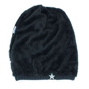 Men Five Star Warm Plus Velvet Knit Beanie Cap Soft Comfortable Fashion Beanie Ear Protection Cap