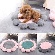 زهرة شكل لينة قصيرة أفخم الحيوانات الأليفة جولة سرير حصيرة الكلب القط دافئ النوم وسادة حصيرة