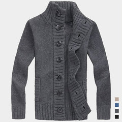 Mens Winter Warm Single Breasted Knitted Sweaters Coat Stand Collar Casual Cardigan