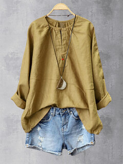 Casual Solid Color Frog Button Crew Neck Plus Size Shirt