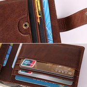 RFID Antimagnetic Genuine Leather 12 Card Slots Wallet Card Holder For Men