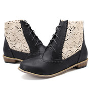 Large Size Women Round Toe Hollow Lace Lace Up Ankle Boots