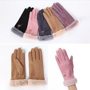 Women Warm Suede Gloves Embroidered Outdoor Windproof Touch Screen Anti-slip Gloves Full Finger