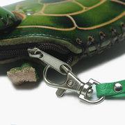 النساء جلد طبيعي ليتل السلاحف عملة محفظة لطيف الكرتون شكل مفتاح حقيبة