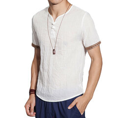 Mens Cotton Linen Chinese Style Retro Solid Color Summer Archaic T Shirt