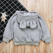 Pure Color Cute Ears Ragazzi Ragazze Felpe con cappuccio con cappuccio Tops For 1Y-7Y