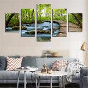 La decorazione domestica della tela di canapa della pittura a olio della foresta della foresta di paesaggio di flusso di 5PCS