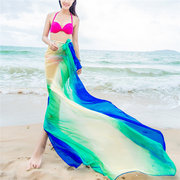 Women Summer Beach Towel Oversized Printing Sunscreen Chiffon Scarves Shawls