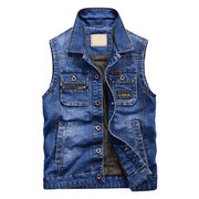 Mens Denim Vintage Multi Pockets Sleeveless Slim Fit Turndown Collar Fashion Casual Vest