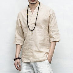 Mens Vintage Chinese Style Cotton Linen Solid Color Half Sleeve V-neck Casual Loose T Shirts