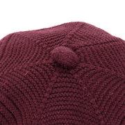Chapeau Octogonal Femme Vintage en Laine Tricotée Coupe-vent Bonnet Chaud Décontracté Couleur Pure