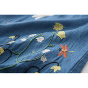Butterfly Embroidery Girls Kids Denim Dress For 3Y-11Y