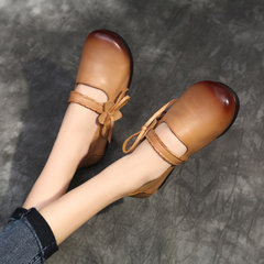 SOCOFY Retro Bowknot Hook Loop Pattern Soft Flat Leather Shoes