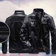 Invierno Casual Moto cuero chaqueta bordado espesar chaqueta de lana para hombres