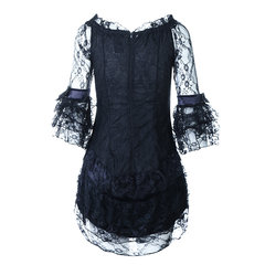 Sexy Lace Broderie Back Zipper Corset Robe Elastic Transparent Dress For Women