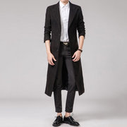 Mens long style laine solide couleur costume costume col slim fit trench-coat occasionnel