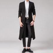 Mens Long Style Woll Solid Color Anzug Kragen Slim Fit Lässige Trenchcoat
