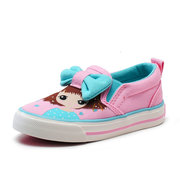 Girls Lovely Cartoon Bowknot Decor Color Match Slip On Comfy Flat Shoes