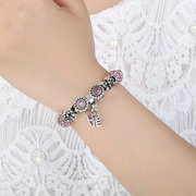 Silver Crown Love Charm Pulseira para mulheres Crystal Glass Beads Bracelets DIY Jewelry Accessories