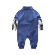Stripped Infant Baby Girls Boys Denim Romper Jumpsuit Clothes For 0-24M