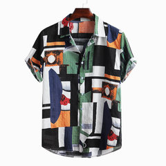 Mens Ethnic Style Abstract Colorblock Kurzarm Sommer Lose Freizeithemd
