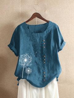 Vintage Kurzärmliges Blumenknopf-T-Shirt mit Aufdruck