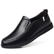 Men Hand Stitching Leather Slip Resistant Soft Sole Casual Driving Shoes