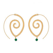 Ethnic Individual Round Spiral Earrings Exaggerated Swirl Green Diamond Ear Drop Female Jewelry