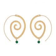 العرقية الفردية جولة دوامة أقراط بالغت دوامة أخضر الماس الأذن قطرة المجوهرات النسائية