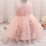 Sequins Decor Baby Girls Tulle Baptism Party Dress For 0-18M