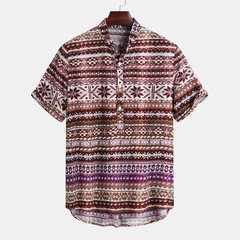 Mens Ethnic Style Abstract Printed Short Sleeve Loose Casual Henley Shirt