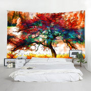 Watercolor Painting Colorful Tree Wall Hanging Tapestry Home Decorative Tapestry Yoga Beach Towels