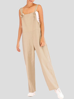 Solid Color Straps Loose Casual Jumpsuit