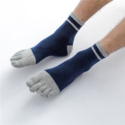 Mens Cotton Sport Solid Color Five Toe Socks Breathable Soft Comfortable Casual Middle Tube Socks