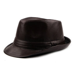 Men Winter Vintage PU Leather Curved Brim Jazz Cap British Style Warm Fedora Hat