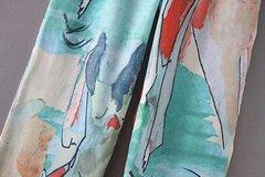 Vita elasticizzata a gamba larga con stampa floreale Pantaloni per le donne