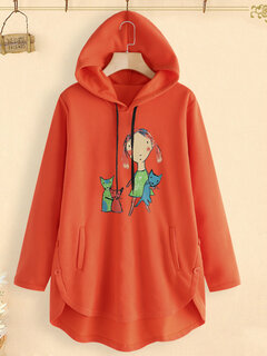 Cartoon Print Button Irregular Casual Plus Size Hoodie