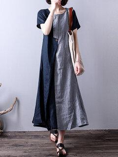Vestito lungo asimmetrico con patchwork a righe