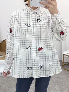 Embroidery Stripe Plaid Long Sleeve Casual Shirt