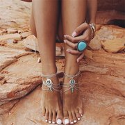 Vintage Drop Women Anklet Ethnic Hallow Turquoise Anklet Beach Beading Anklet