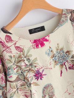 Blusas vintage de manga larga con estampado de patchwork para mujer