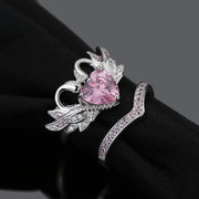 2 Pcs/set Sweet Two Swan Heart Zirconia Engagement Wedding Rings Unique Gift for Women Girls
