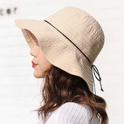 Women's Cotton Solid Color Foldable Bucket Cap Vogue Sunshade Vacation Seaside Fisherman Hats