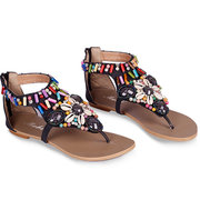 Bohemia Bead Shell Colorful Vintage Clip Toe National Wind Flat Zipper Sandals