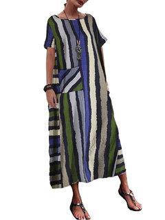 Bohemian Multi Color Striped Print Plus Size Maxi Dress